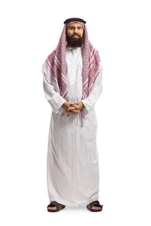 Photo pour Full length portrait of a saudi arab man wearing a traditional thobe and posing isolated on white background - image libre de droit
