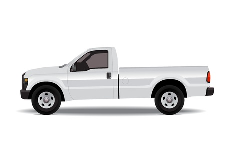 White pick-up truck isolated on white background