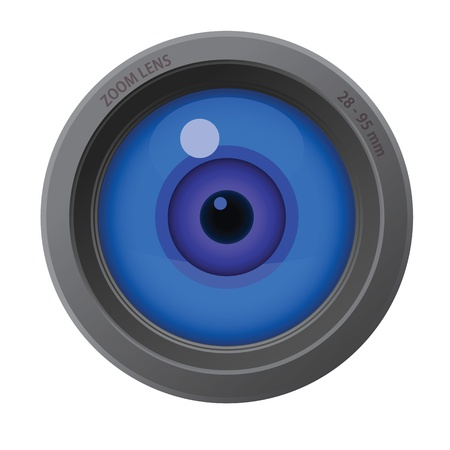 An eye inside of camera lens isolated on white background.