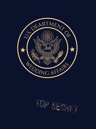 Wedding invitation passport with fake wedding affairs seal and top secret stamp.