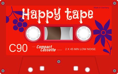 Illustration for Retro plastic audio cassette, music cassette, cassette tape. Isolated on white background. Realistic illustration of old technology. Vintage tape. - Royalty Free Image
