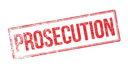 Prosecution red rubber stamp on white. Print, impress, overprint.