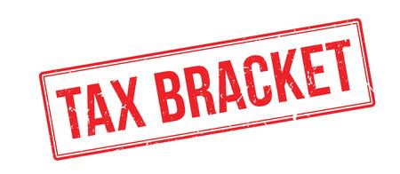 Tax bracket rubber stamp on white. Print, impress, overprint.