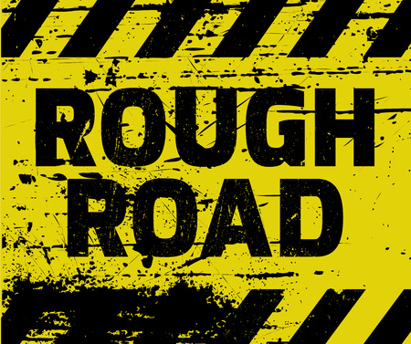 Illustration pour Rough Road sign yellow with stripes, road sign variation. Bright vivid sign with warning message. Grunge distressed effects of rusty metal plate are on separate layer. - image libre de droit