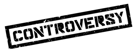 Controversy rubber stamp on white. Print, impress, overprint.