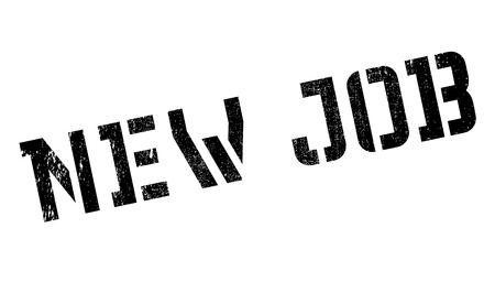 New job stamp. Grunge design with dust scratches. Effects can be easily removed for a clean, crisp look. Color is easily changed.