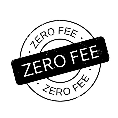 Zero Fee rubber stamp. Grunge design with dust scratches. Effects can be easily removed for a clean, crisp look. Color is easily changed.