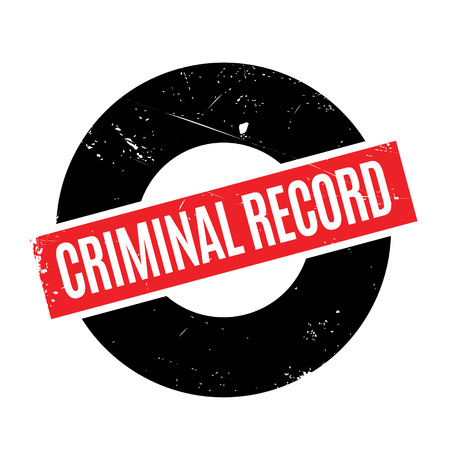 Criminal Record rubber stamp. Grunge design with dust scratches. Effects can be easily removed for a clean, crisp look. Color is easily changed.