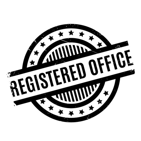 Registered Office rubber stamp. Grunge design with dust scratches. Effects can be easily removed for a clean, crisp look. Color is easily changed.