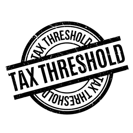 Tax Threshold rubber stamp. Grunge design with dust scratches. Effects can be easily removed for a clean, crisp look. Color is easily changed.