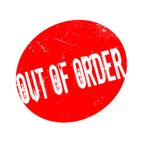 Out Of Order rubber stamp. Grunge design with dust scratches. Effects can be easily removed for a clean, crisp look. Color is easily changed.