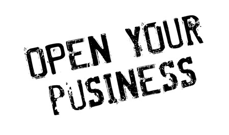 Open Your Business rubber stamp. Grunge design with dust scratches. Effects can be easily removed for a clean, crisp look. Color is easily changed.