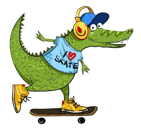Cartoon image of amazing skateboarding alligator