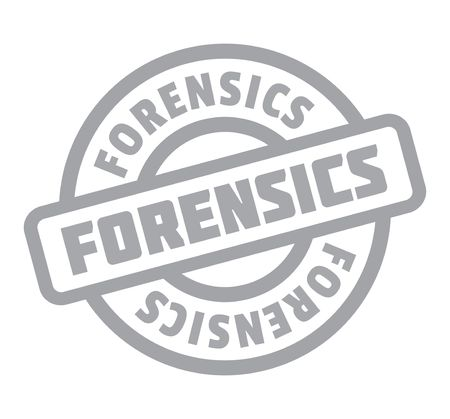 Forensics rubber stamp. Grunge design with dust scratches. Effects can be easily removed for a clean, crisp look. Color is easily changed.