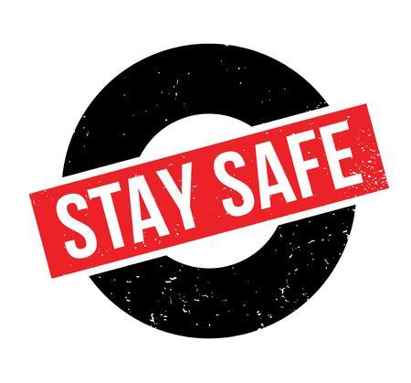 Illustration pour Stay Safe rubber stamp - image libre de droit