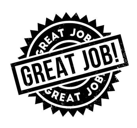 Illustration pour Great Job rubber stamp. Grunge design with dust scratches. Effects can be easily removed for a clean, crisp look. Color is easily changed. - image libre de droit