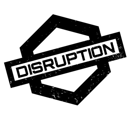Illustration pour Disruption rubber stamp. Grunge design with dust scratches. Effects can be easily removed for a clean, crisp look. Color is easily changed. - image libre de droit