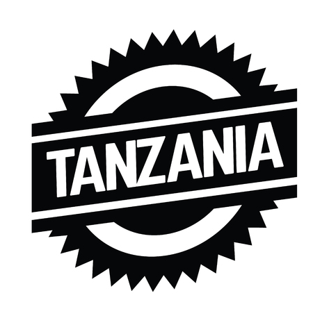 tanzania bl ack stamp in spanish language. Sign, label, sticker