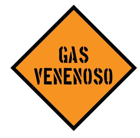 poison gas black stamp in spanish language. Sign, label, sticker