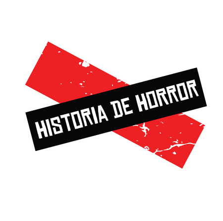 horror story black stamp in spanish language  Sign, label