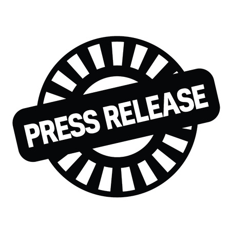 Illustration for press release black stamp on white background. Sign, label, sticker - Royalty Free Image
