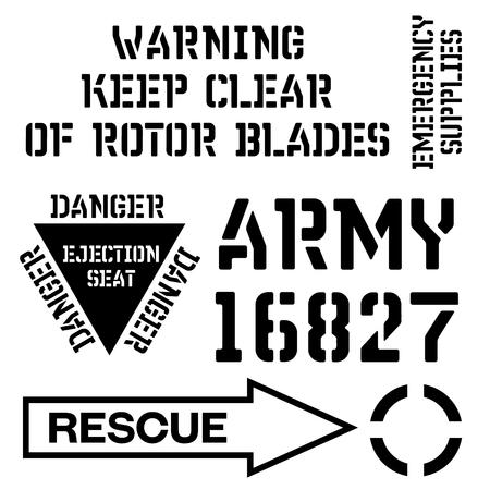Illustration pour Armed forces stencil sign collection. Black on white background. - image libre de droit