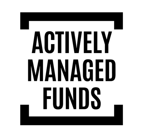 actively managed funds black stamp, sticker, label, on white background