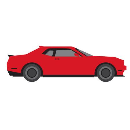 Ilustración de red car flat illustration on white. Everyday objects and city life series. - Imagen libre de derechos