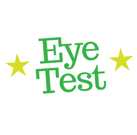 EYE TEST stamp on white. Stamps and advertisement labels series.