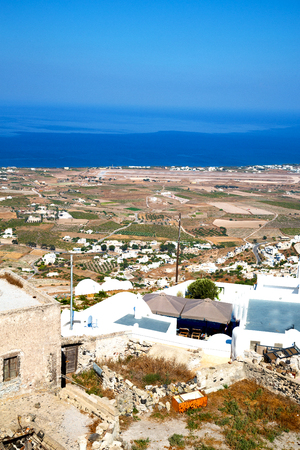 in      cyclades greece santorini europe the sky sea and village from hill