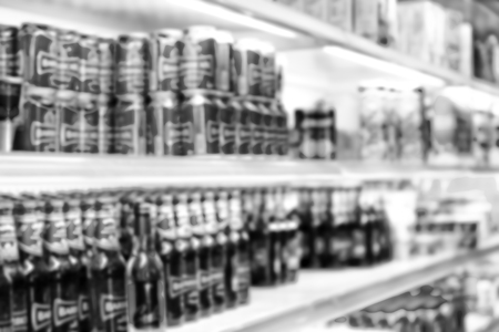full of colors blurred in the supermarket like shopping background concept