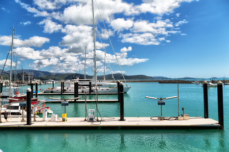 in  australia Airlie Beach and the boat in the pier near ocean