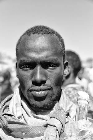 ETHIOPIA,LALIBELA-CIRCA  JANUARY 2018--unidentified young  man  in the genna celebration