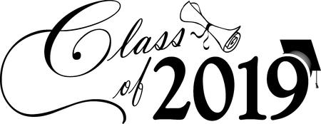 Ilustración de Class of 2019 Banner with Diploma and Graduation Cap - Imagen libre de derechos