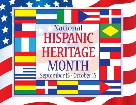 Illustration pour Hispanic Heritage Month September 15 - October 15 - image libre de droit