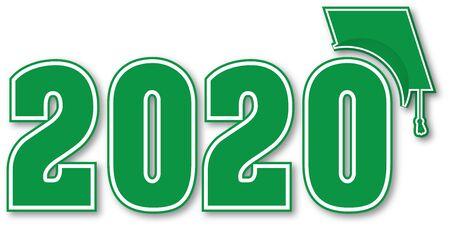 Ilustración de Green Class of 2020 with Graduation Cap - Imagen libre de derechos