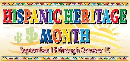 Illustration pour Hispanic Heritage Month Banner with Desert Background - image libre de droit