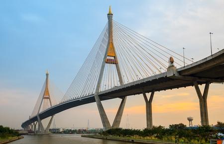 Bhumibol Mega Bridge  Industrial Ring Mega Bridge at night, Bangkok, Thailand