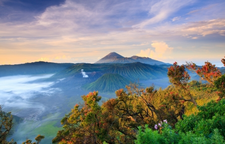 Bromo vocalno at  sunrise,
