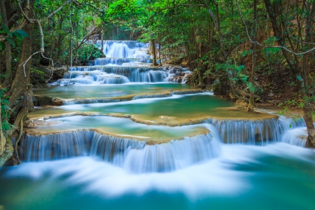 Deep forest Waterfall in Kanchanaburi, Thailandの写真素材