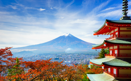 Mt. Fuji with Chureito Pagoda in autumn, Fujiyoshida, Japanの写真素材