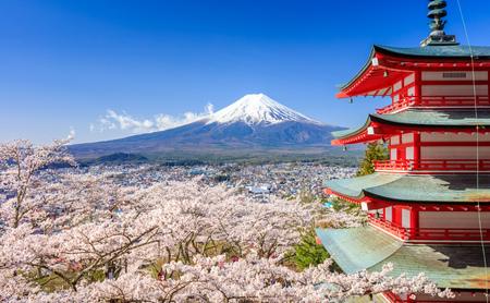Photo for Mt. Fuji with Chureito Pagoda in Spring, Fujiyoshida, Japan - Royalty Free Image