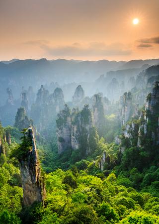 Photo pour Zhangjiajie National forest park at sunset, Wulingyuan, Hunan, China - image libre de droit