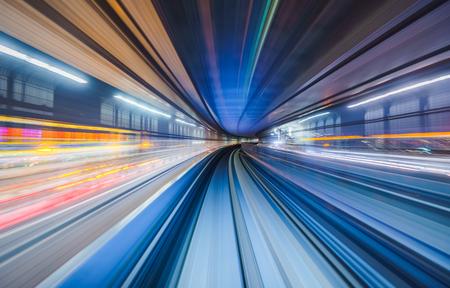 Photo pour Motion blur of train moving inside tunnel in Tokyo, Japan - image libre de droit