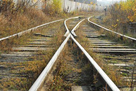 Old railway with old railway equipment