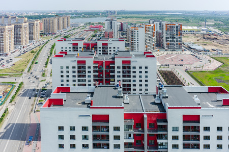 Tyumen, Russia - May 30, 2015: Aerial view onto residential district European on Gazovikov street