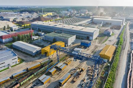 Tyumen, Russia - July 30, 2015: Bird eye view onto JSC Tyumenstalmost factory
