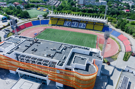 Tyumen, Russia - June 27, 2015: Aerial view of modern stadium Geolog of Tyumen football club