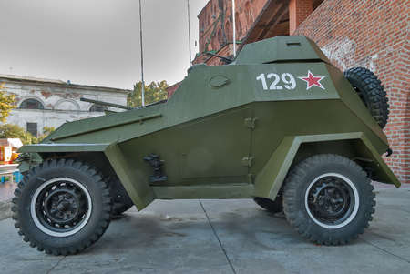 Nizhniy Novgorod, Russia - September 2, 2009: military armored car of BA-64. An exhibition of military equipment of times of World War II in the Kremlin of Nizhny Novgorod