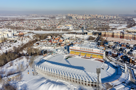Tyumen, Russia - February 15, 2016: Aerial view of modern stadium Geolog of Tyumen football club